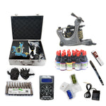 Professional Tattoo Kit with 2 Machine  LCD Tattoo Power Supply 8 Color 15ML Inks KH2G1