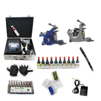 New Professional Tattoo Kit  with 2 Machine  CE Power Supply 40 Color Inks KC2C1D