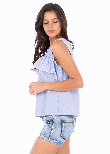 BLUSA RAYAS COLD SHOULDER C/OLAN