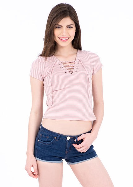 BLUSA CORTA LACE UP RAYAS