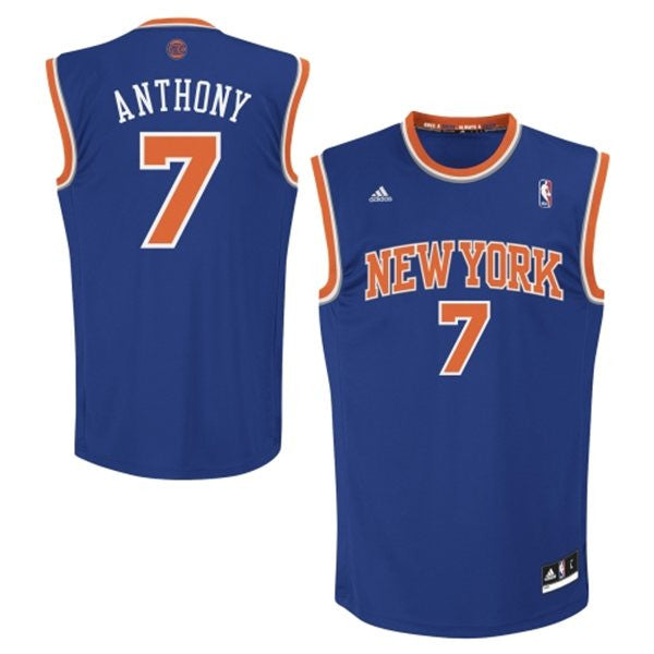new style 3e4a2 903c9 New York Knicks Carmelo Anthony #7 NBA Adidas Blue Youth Road Jersey