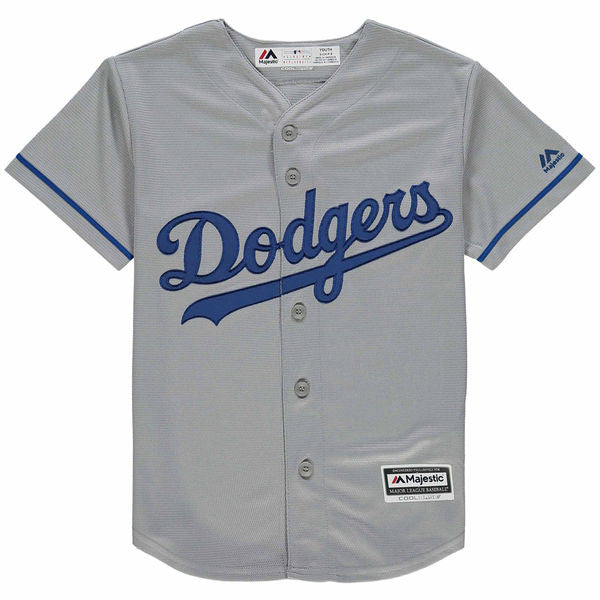 sports shoes ef2b3 52103 Los Angeles Dodgers Clayton Kershaw #22 MLB Majestic Gray Youth Replica  Cool Base Road Jersey