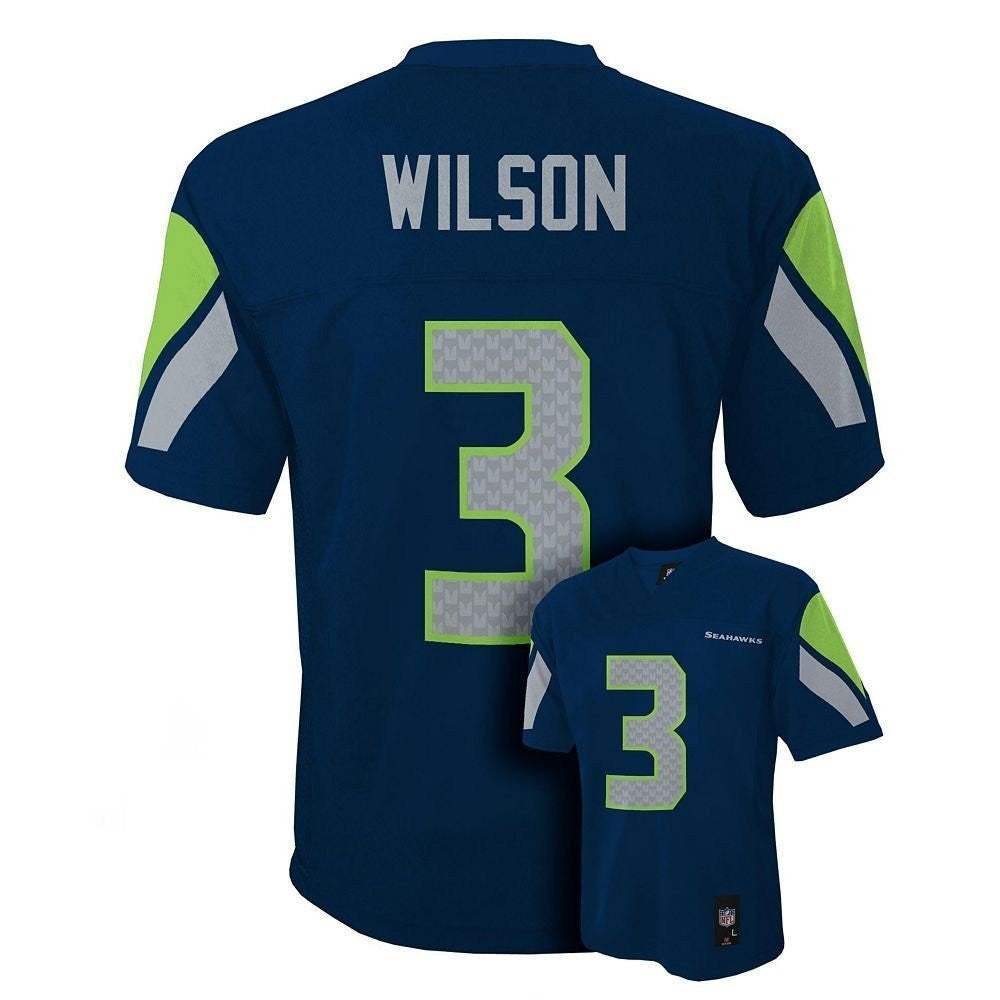 newest collection b6c17 e6f69 Seattle Seahawks Russell Wilson #3 NFL Navy Kids Home Jersey