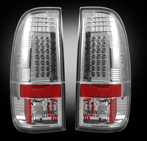 08-16 Ford Superduty Clear LED Tail Lights - Dezert Lighting LLC