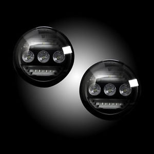 GMC Sierra & Chevy Silverado 15-17 3-Function Fog Light Kit – WHITE LED Fog Lights – WHITE LED Daytime Running Lights – AMBER LED Turn Signals 2-Piece Set (Replaces Both OEM Chevy & GMC 15-17 Fog Lights) – Smoked / Black