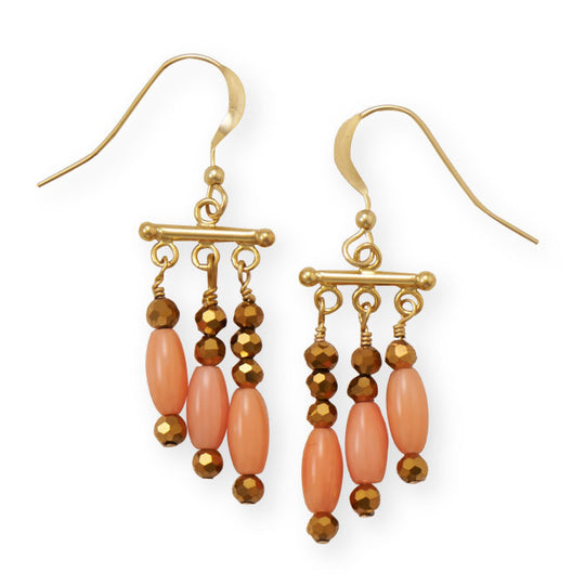 Just Peachy Coral 14/20 gold filled french wire earrings - CrowsAndShinyThings