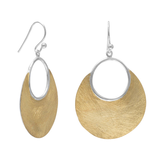 14 Karat Gold/Sterling Silver Brushed Earrings - CrowsAndShinyThings