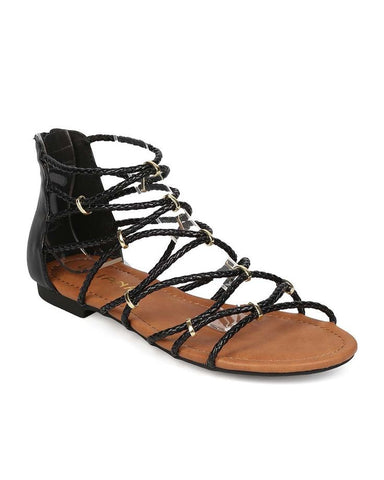 Linked By Straps Sandals - Black