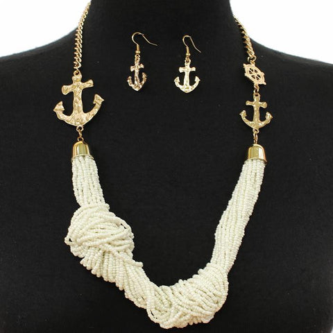 Anchors Up Necklace Set - Ivory