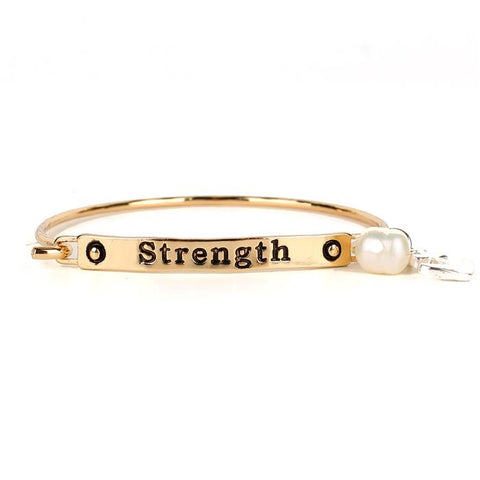 """Strength"" Charm Bangle - Gold"