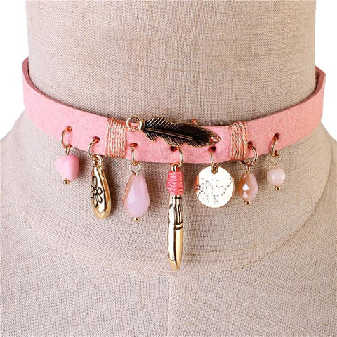 Sueded Charms Choker - Pink