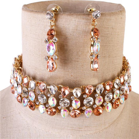 Stone Glory Choker Set - Multi Iridescent