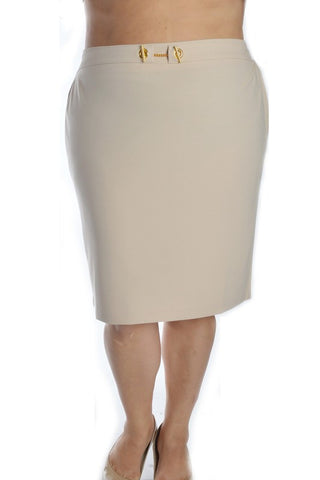 PLUS Locked In Beauty Pencil Skirt - Beige
