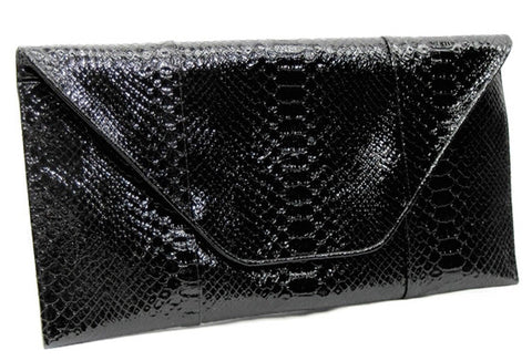 Snakeskin Envelope Clutch - Black