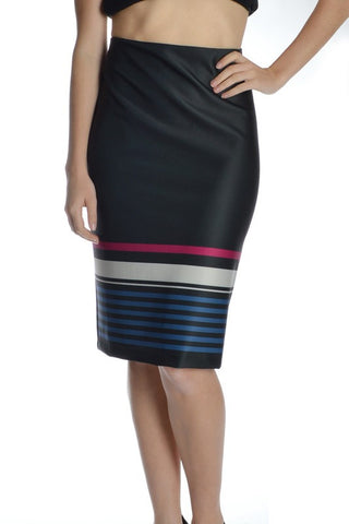 PLUS Stripe It Up Pencil Skirt - Blue/Magenta