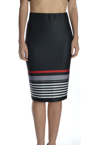 PLUS Stripe It Up Pencil Skirt - Grey/Red
