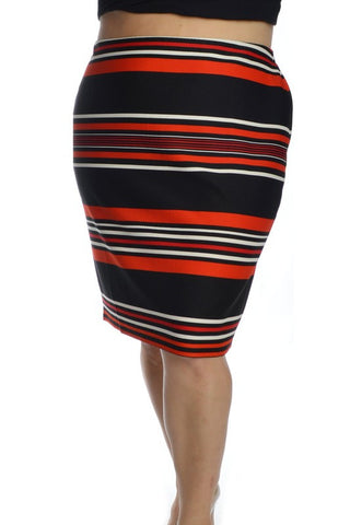 PLUS Get Your Stripe On Pencil Skirt - Red