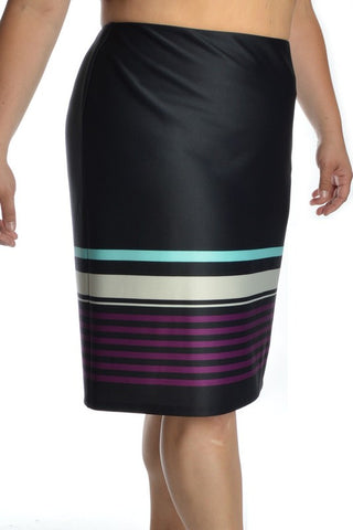 PLUS Stripe It Up Pencil Skirt - Purple/Mint