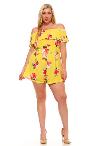 PLUS Blushing Petals Romper - Yellow
