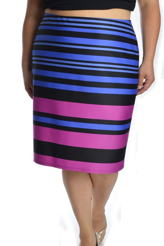 PLUS Evening Lights Stripe Pencil Skirt