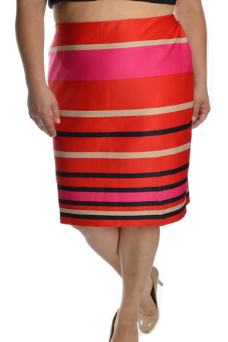 PLUS Striped To The Heart Pencil Skirt