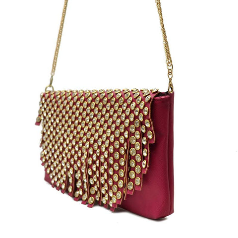 Studded Glory Clutch - Red
