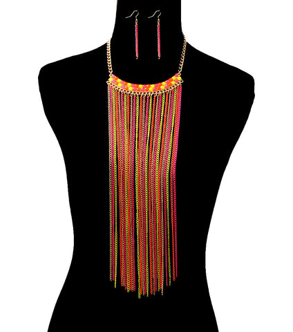 Neon Lights Tassel Drop Necklace Set