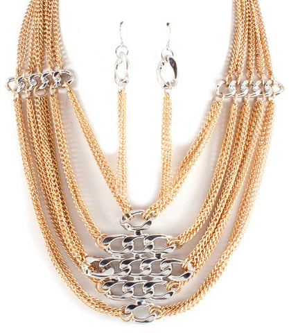 Chain Layered Link Necklace Set