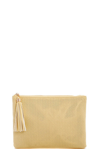 Pastel Pop Tassel Clutch - Lemon