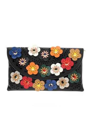 Into The Bouquet Clutch - Black