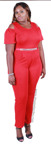 PLUS Bling Aligned Jumpsuit - Red
