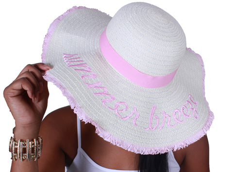 """Summer Breeze"" Straw Hat - Light Pink"