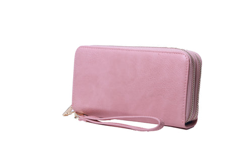 Double Zip Wristlet Wallet - Pink