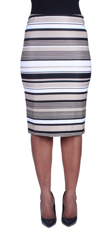 Mixed Stripes Pencil Skirt
