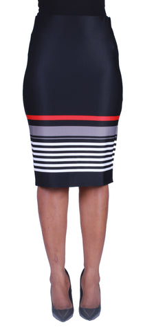 Stripe It Up Pencil Skirt - Grey/Red