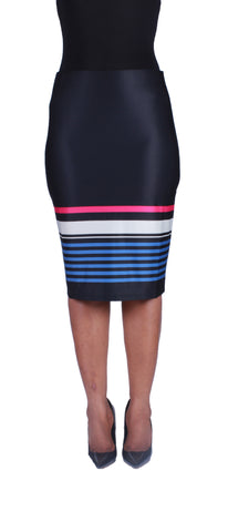 Stripe It Up Pencil Skirt - Blue/Magenta