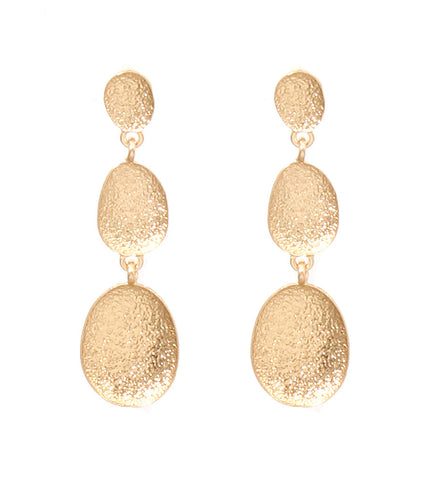 Triple Print Drop Earrings - Gold