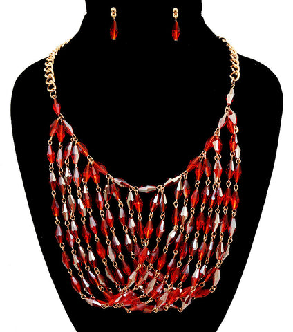 Cut of the Stone Necklace Set - Red