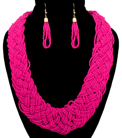 Braided Seed Bead Necklace Set - Fuchsia