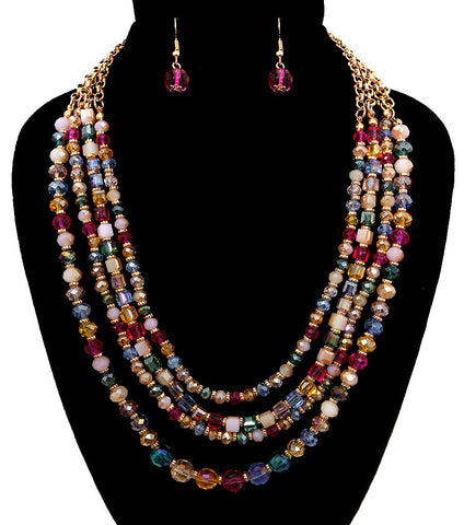 Beaded In Color Necklace Set - Pink Multi