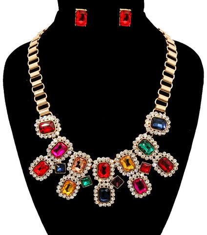 Jeweled Birth Stones Necklace Set