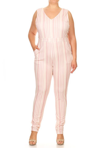 PLUS Blushed Over Stripe Jumpsuit