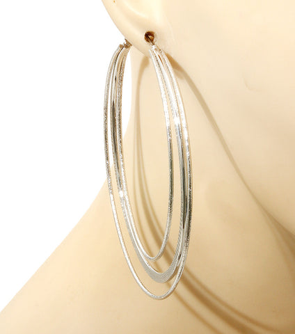 Three's A Charm Hoop Earrings - Silver