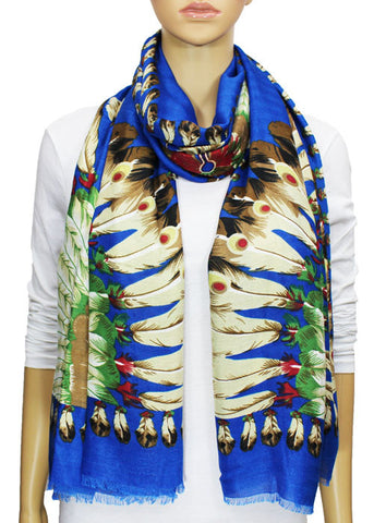 Indian Feather Pashmina Scarf - Blue
