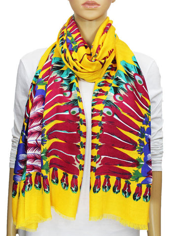 Indian Feather Pashmina Scarf - Yellow