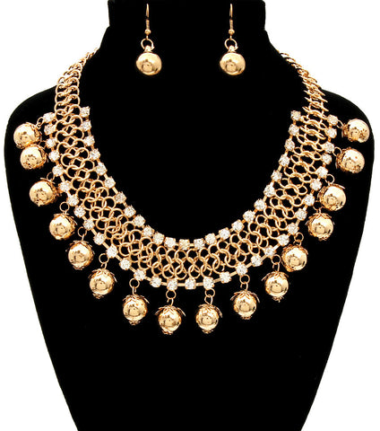Charming Bling Necklace Set - Gold