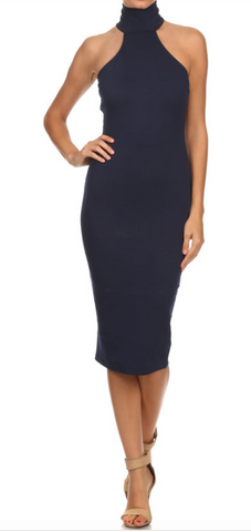 Up To My Neck Bodycon Dress - Navy