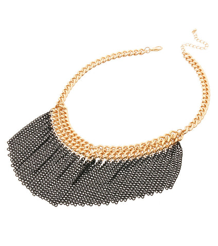 Darkened Tassel Necklace Set