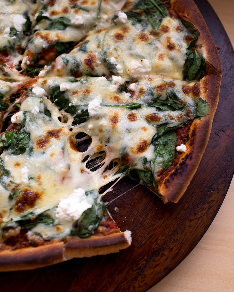Spinach, Pesto and Feta Pizza