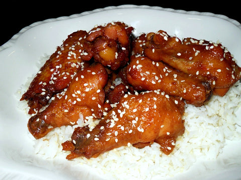 Chicken Wings and Rice - BBQ Sriracha